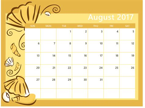 printable calendar to write on 2017 august 2017 calendar printable