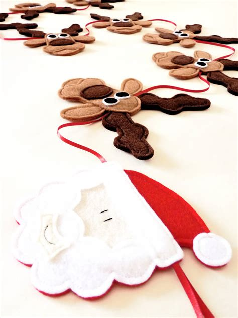 Handcrafted Santas - handmade felt santa rudolph and reindeer bunting by be