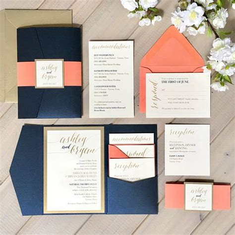 Navy And Coral Wedding Invitations