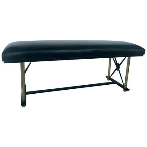 black metal bench brass and black metal bench with leather upholstery for