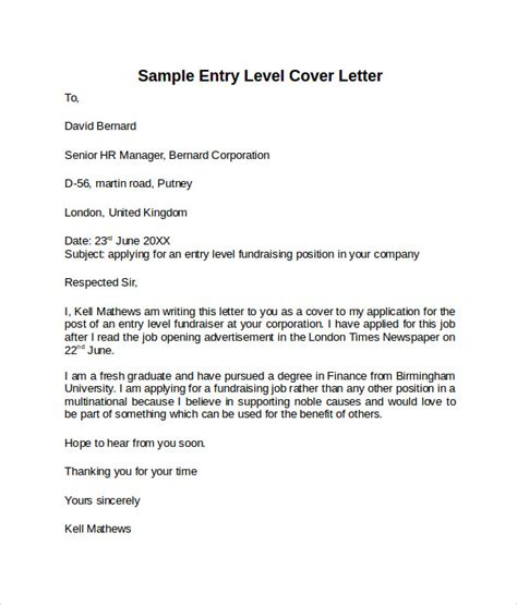 cover letter for entry level position entry level cover letter templates 9 free sles