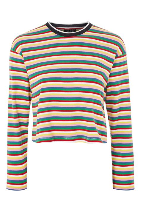 Stripe Tops sleeve rainbow striped t shirt topshop