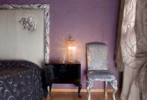 silver black and lavender color combination chic interior