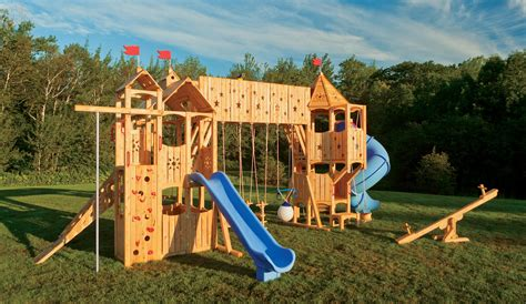 play swing sets frolic 799 wooden swing set and outdoor playset