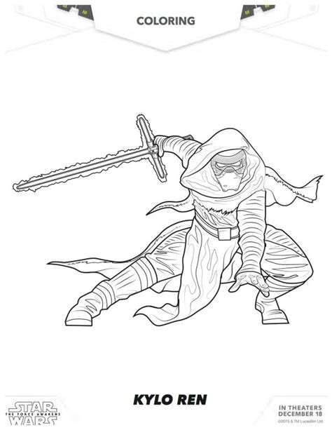 coloring pages wars awakens wars the awakens kylo ren coloring page