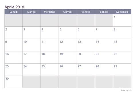 Calendario 2018 Aprile Calendario Aprile 2018 Da Stare Icalendario It