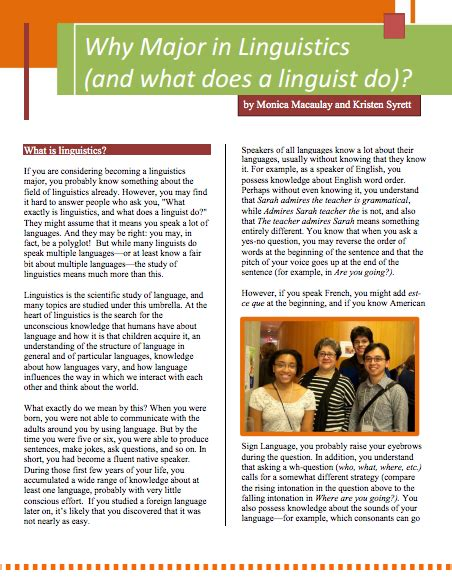 why do linguistics faq phlets linguistic society of america