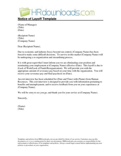 layoff notice template sle layoff letter template business