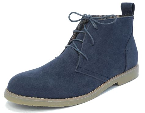 mens navy blue micro suede desert ankle boots lace up size