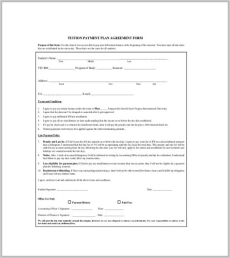 tuition bill template 60 agreement template free word pdf documents