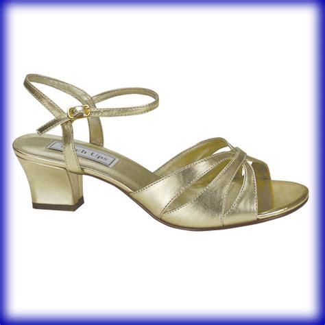 gold evening shoes low heel like success