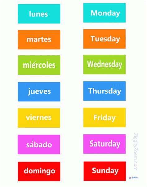 spanish english flashcards printable spanish english days of the week game ziggity zoom