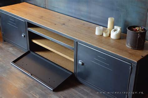 banc television meuble banc tv 3portes en bois et acier micheli design