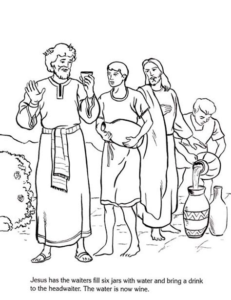 coloring pages jesus first miracle free coloring pages of the first miracle of jesus