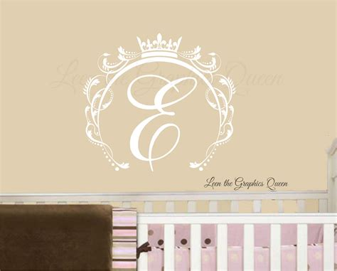 initial wall stickers princess crown swirl frame monogram wall decal