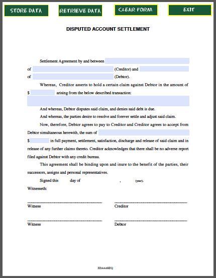 settlement agreement template disputed account settlement agreement template free