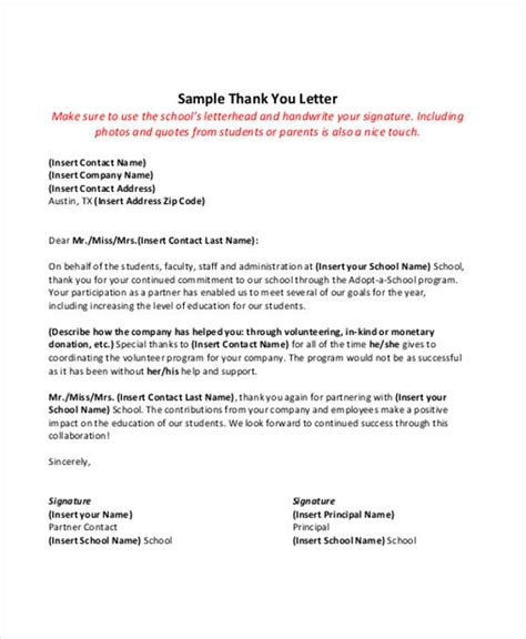 thank you letter to from principal 45 thank you letter exle templates free premium