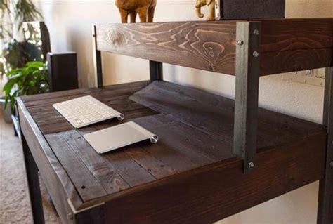 multi tiered computer desk tiered pallet wood desk 101 pallets
