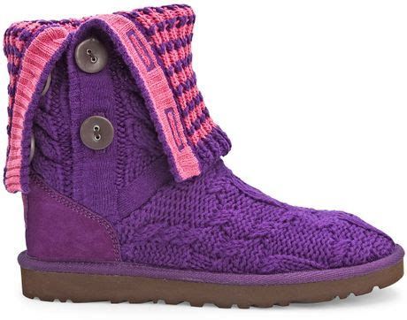 pink knit boots ugg boots leland knit foldover boot in pink pink purple