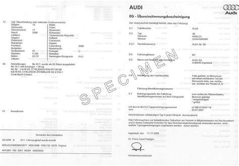 coc auto layout certificate of conformity coc audi