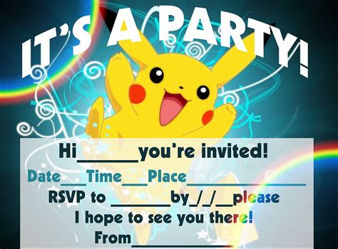 birthday rsvp card template pikachu birthday invitation templates free cleaning