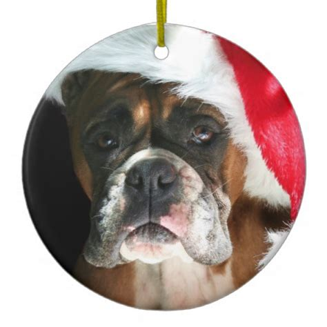christmas boxer dog ornament
