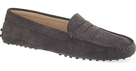 grey suede loafers womens tod s mocassino suede loafers in gray lyst