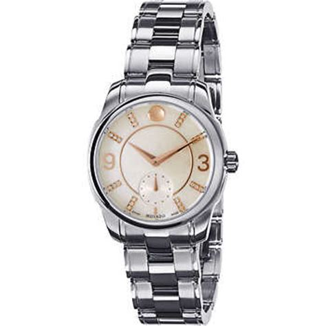 movado swiss lx stainless steel with diamonds s