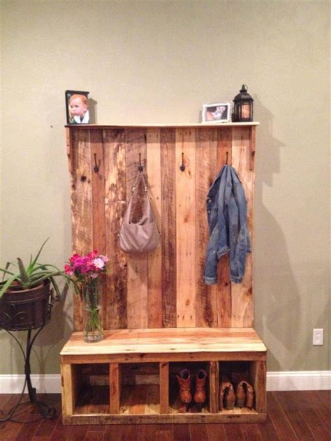 diy coat rack bench pallet hall tree shoe rack or coat rack 101 pallets