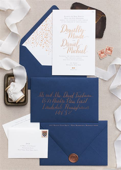 Wedding Invitations In Az by Copper Foil And Navy Calligraphy Wedding Invitations