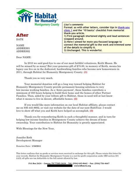 sofii memoriam donation letter samples