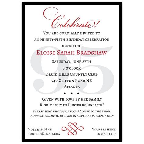 Classic 95th Birthday Celebrate Party Invitations Paperstyle 95th Birthday Invitation Templates