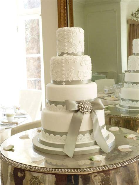 Wedding Cake Ribbon by Wedding Cake With Silver Ribbon