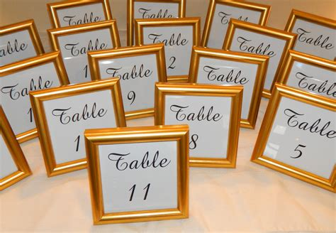 small gold table l special small gold frame with wedding table numbers 4 x