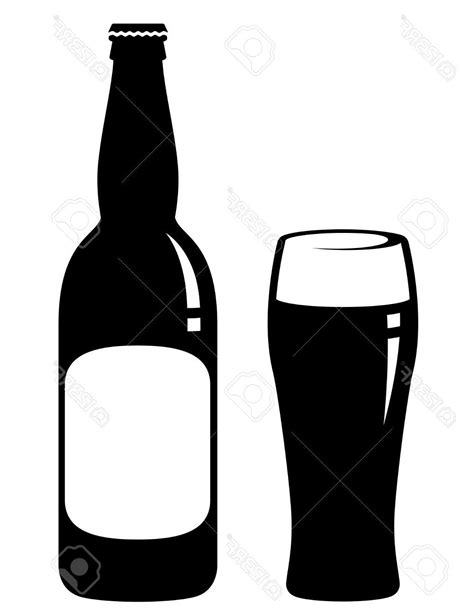 beer cartoon black and white best hd beer bottle and glass with blank label stock