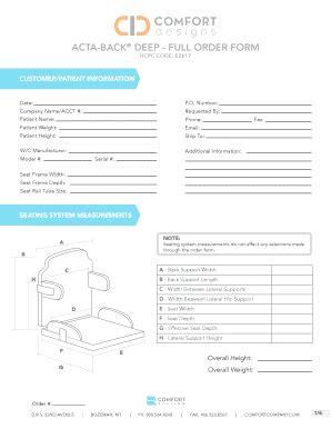 comfort order acta back deep full order form comfort company fill