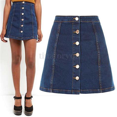 2016 womens blue denim a line mini skirt button front