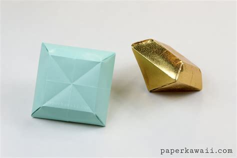 Origami Gem - origami paper tutorial make 3d gems paper kawaii