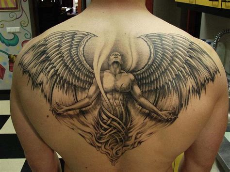 guardian angel back tattoo design for men guardian angel
