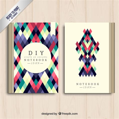 notebook cover design vector free download geometrical notebook cover vector free download