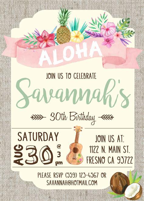 hawaiian luau birthday invitation invite watercolor