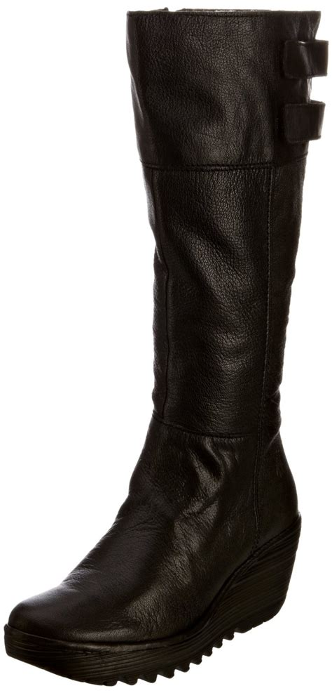 fly womens yush black new leather boots shoes