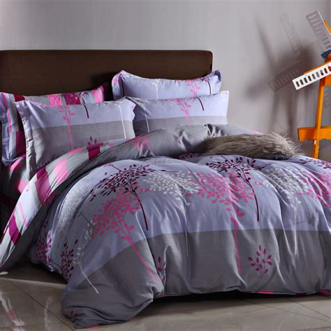 girl queen size bedding colorful tree leaf 4pcs queen size 100 cotton gray lattice