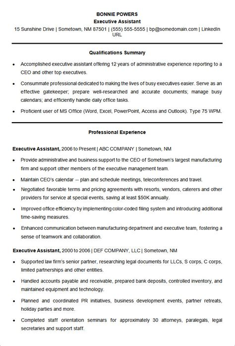 Executive Assistant Resume Templates by Microsoft Word Resume Template 49 Free Sles