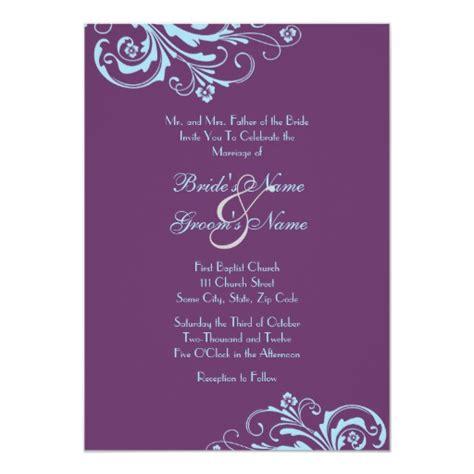 turquoise and purple chic wedding invitation zazzle