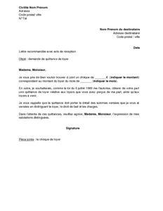 Exemple De Lettre Loyer Impayé Modele Quittance