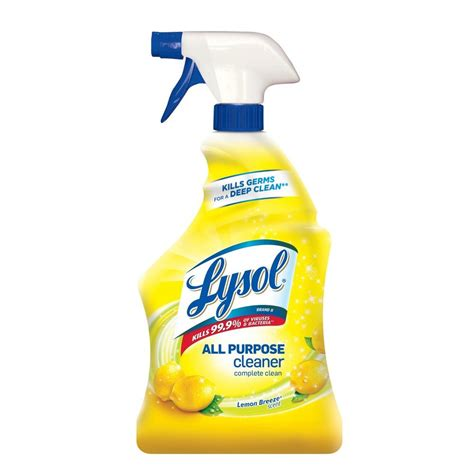 lysol lemon breeze scented  purpose cleaner disinfectant spray oz yellow