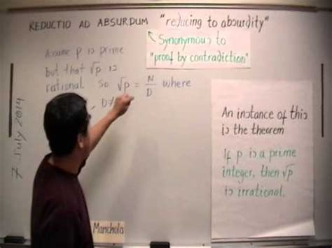reductio ad absurdum proof by contradiction youtube