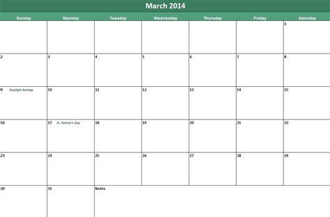Usable Calendar Template printable march 2014 calendar now available on leading