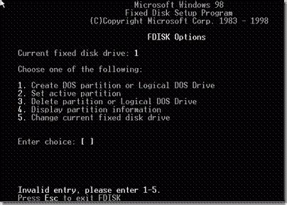 format hard disk using fdisk command fdisk vista